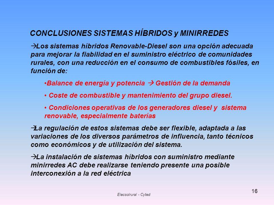 CONCLUSIONES SISTEMAS HÍBRIDOS y MINIRREDES
