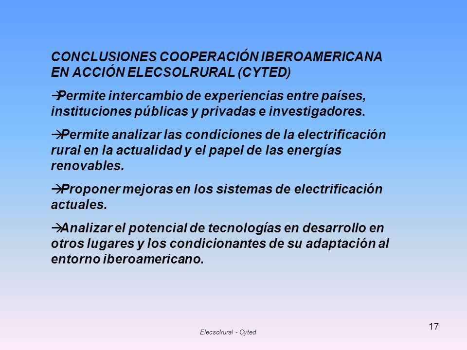 CONCLUSIONES COOPERACIÓN IBEROAMERICANA EN ACCIÓN ELECSOLRURAL (CYTED)