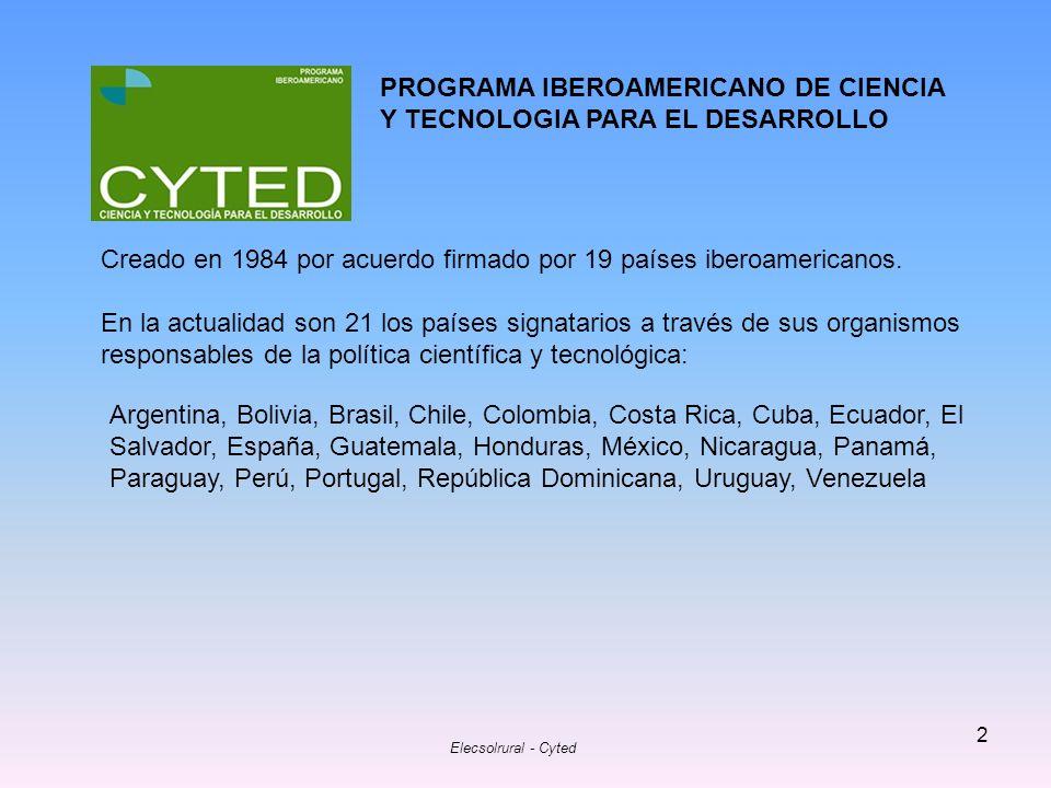 PROGRAMA IBEROAMERICANO DE CIENCIA Y TECNOLOGIA PARA EL DESARROLLO