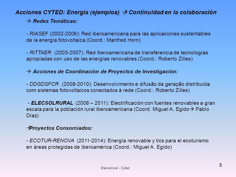 Acciones CYTED: Energía (ejemplos)  Continuidad en la colaboración