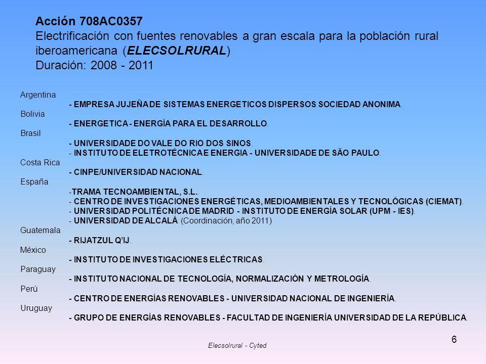 Acción 708AC0357 Electrificación con fuentes renovables a gran escala para la población rural iberoamericana (ELECSOLRURAL)