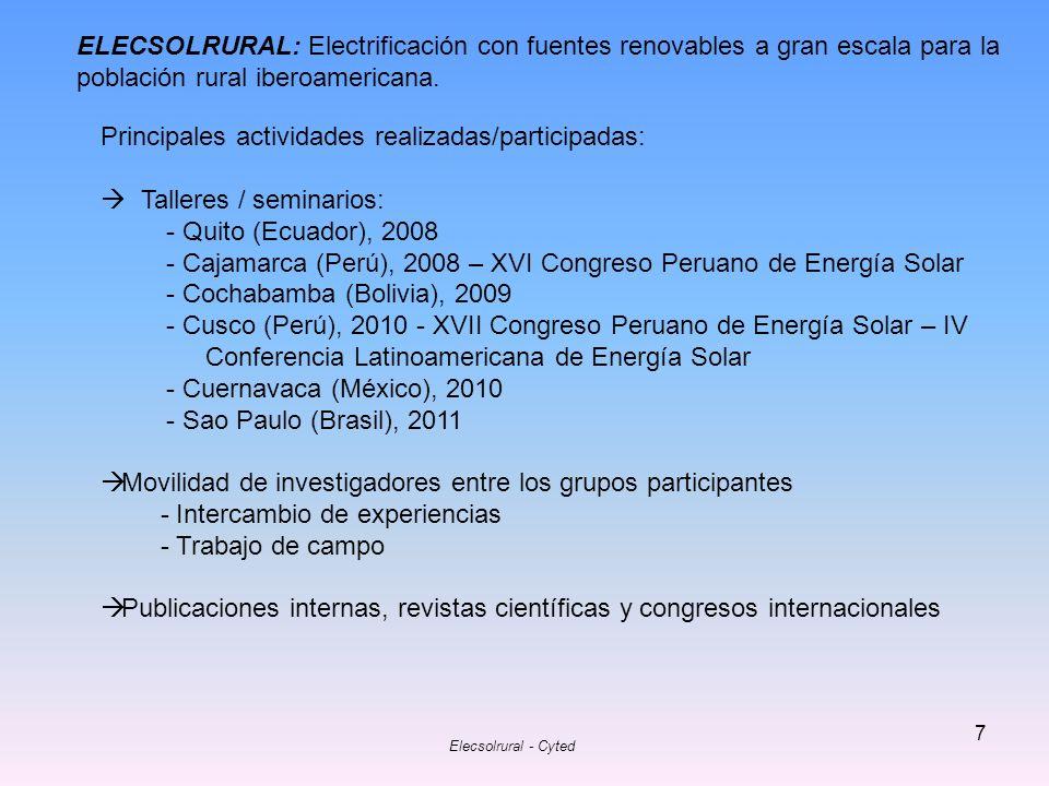 Principales actividades realizadas/participadas:
