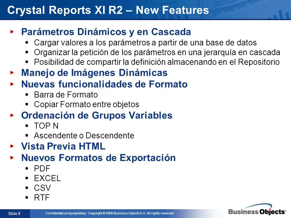 Crystal Reports XI R2 – New Features