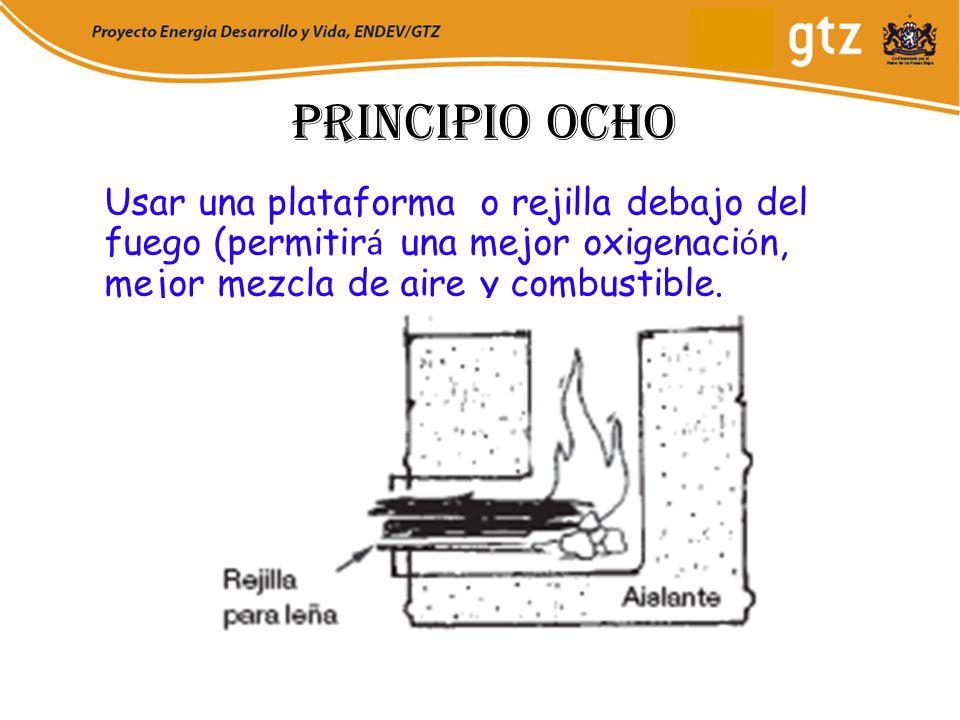 Principio ochoUsar una plataforma o rejilla debajo del fuego (permitirá una mejor oxigenación, mejor mezcla de aire y combustible.