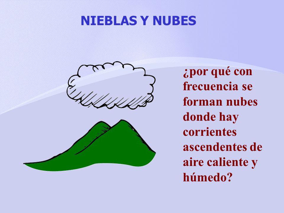 NIEBLAS Y NUBES ¿por qué con frecuencia se forman nubes donde hay corrientes ascendentes de aire caliente y húmedo