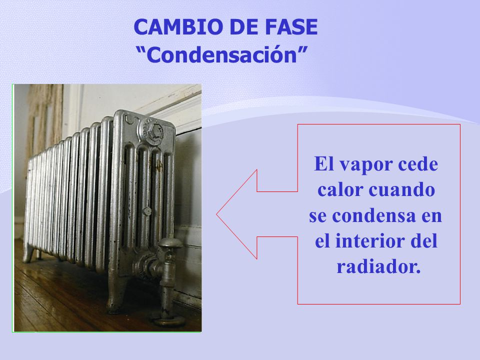 CAMBIO DE FASE Condensación El vapor cede calor cuando se condensa en el interior del radiador.