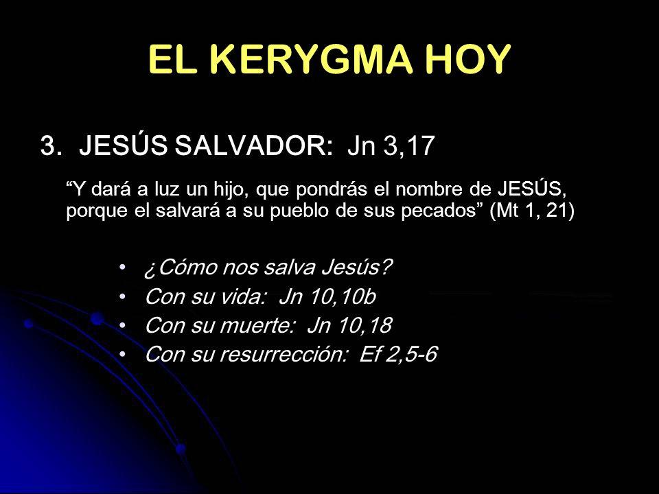 EL KERYGMA HOY 3. JESÚS SALVADOR: Jn 3,17 ¿Cómo nos salva Jesús