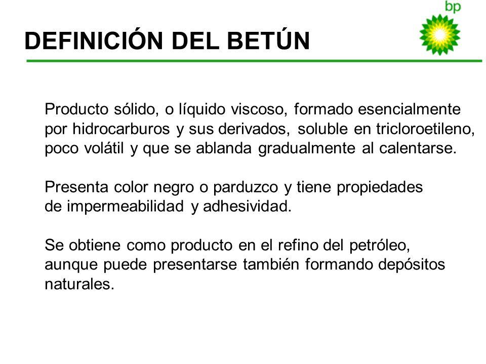 DEFINICIÓN DEL BETÚNProducto sólido, o líquido viscoso, formado esencialmente. por hidrocarburos y sus derivados, soluble en tricloroetileno,