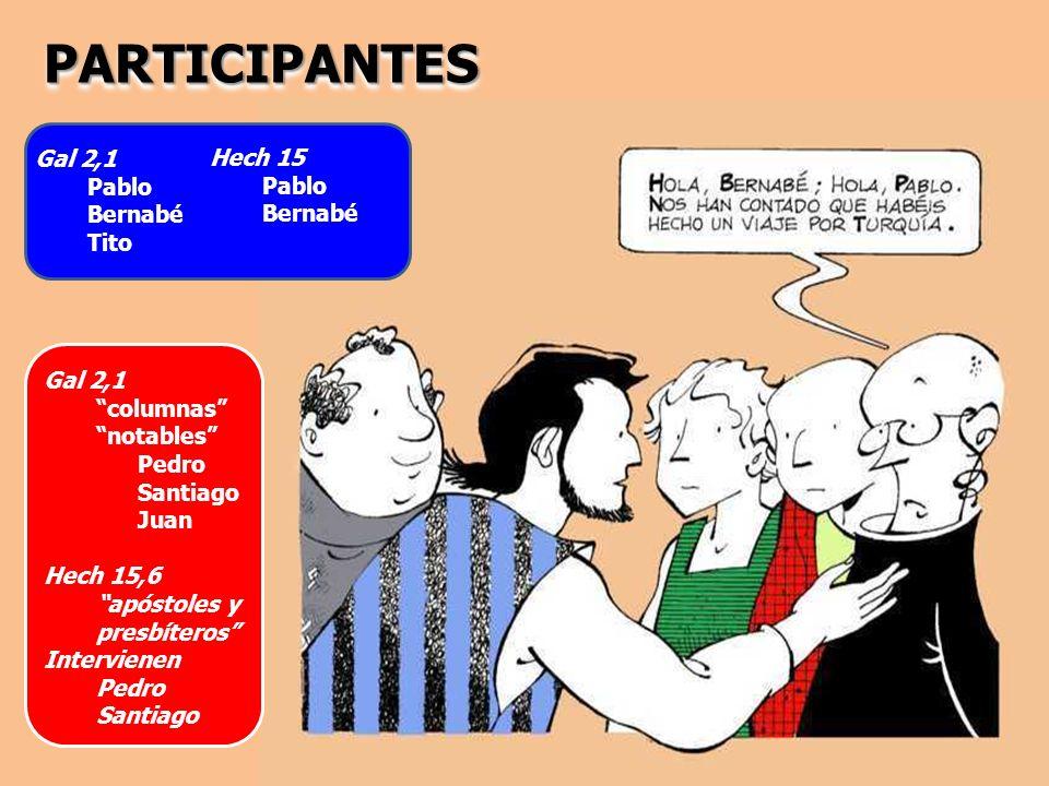 PARTICIPANTES Gal 2,1 Hech 15 Pablo Pablo Bernabé Bernabé Tito Gal 2,1