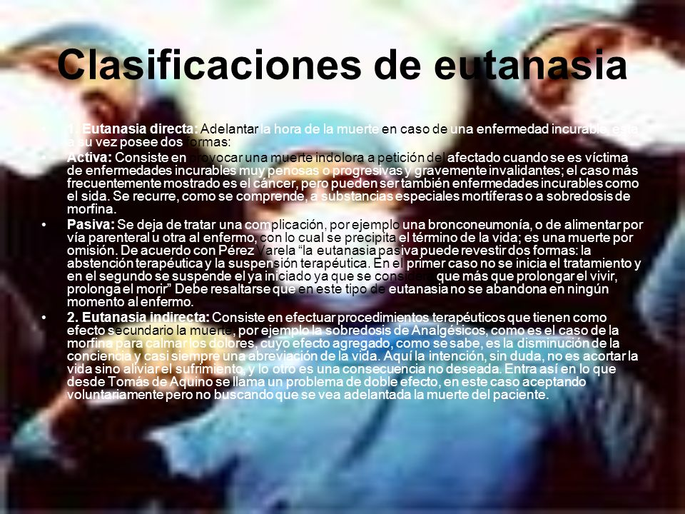 Clasificaciones de eutanasia