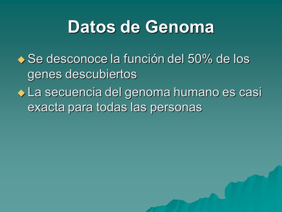 Datos de Genoma Se desconoce la función del 50% de los genes descubiertos.