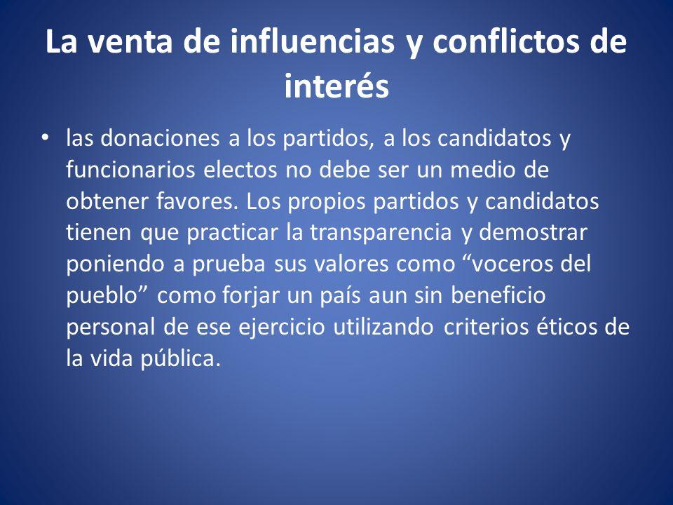 La venta de influencias y conflictos de interés
