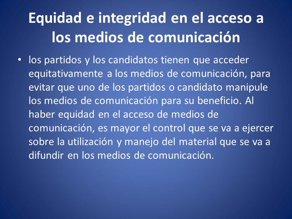 Equidad e integridad en el acceso a los medios de comunicación