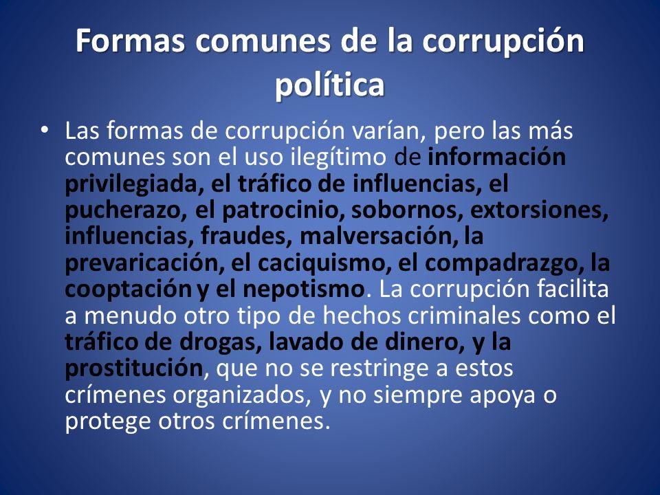 Formas comunes de la corrupción política
