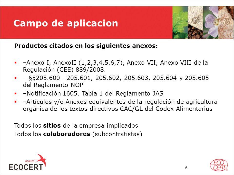 Campo de aplicacion Productos citados en los siguientes anexos: