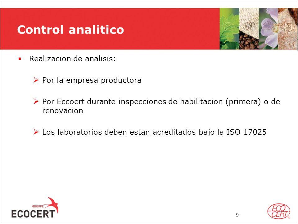Control analitico Realizacion de analisis: Por la empresa productora
