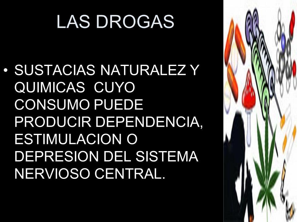 LAS DROGASSUSTACIAS NATURALEZ Y QUIMICAS CUYO CONSUMO PUEDE PRODUCIR DEPENDENCIA, ESTIMULACION O DEPRESION DEL SISTEMA NERVIOSO CENTRAL.