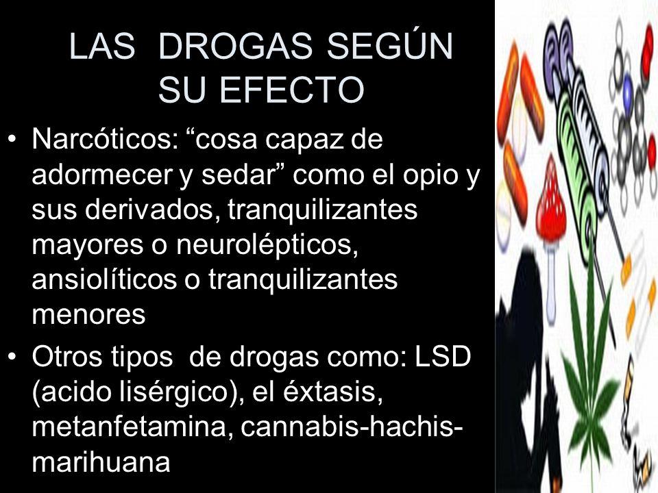 LAS DROGAS SEGÚN SU EFECTO