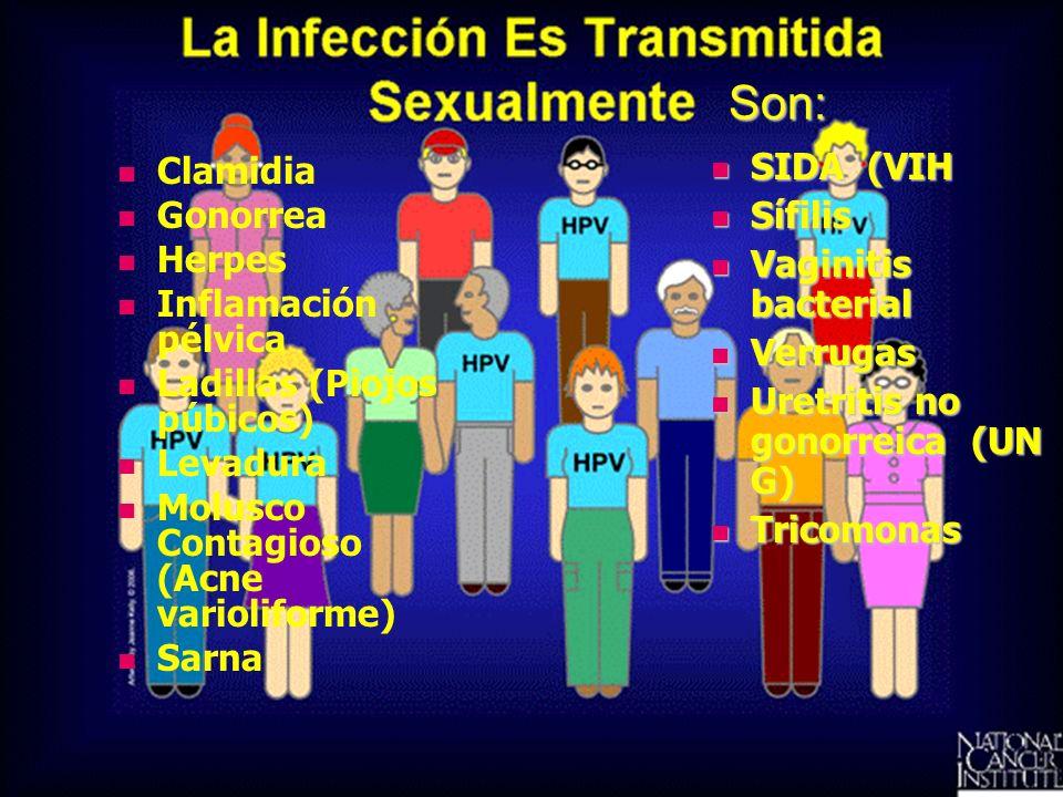 Son: SIDA (VIH Clamidia Sífilis Gonorrea Vaginitis bacterial Herpes