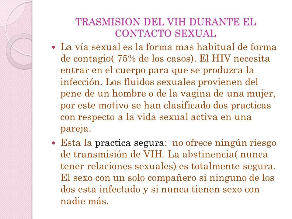 TRASMISION DEL VIH DURANTE EL CONTACTO SEXUAL
