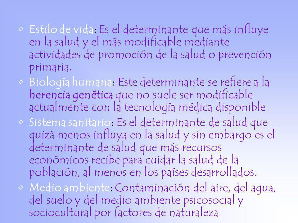 Estilo de vida: Es el determinante que más influye en la salud y el más modificable mediante actividades de promoción de la salud o prevención primaria.