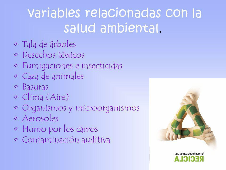 variables relacionadas con la salud ambiental.