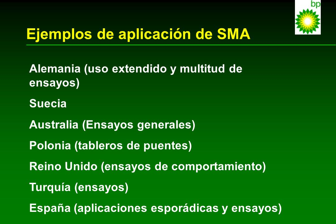 Ejemplos de aplicación de SMA