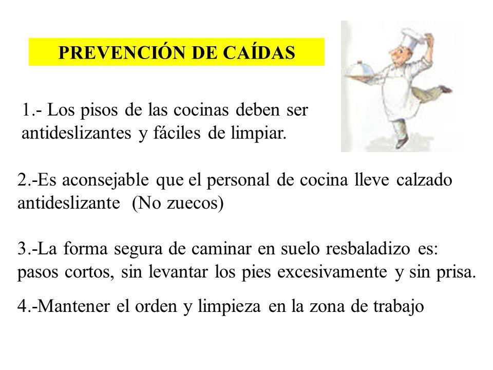 PREVENCIÓN DE CAÍDAS 1.- Los pisos de las cocinas deben ser antideslizantes y fáciles de limpiar.