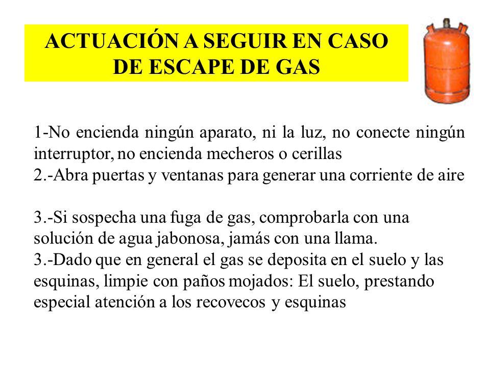 ACTUACIÓN A SEGUIR EN CASO DE ESCAPE DE GAS