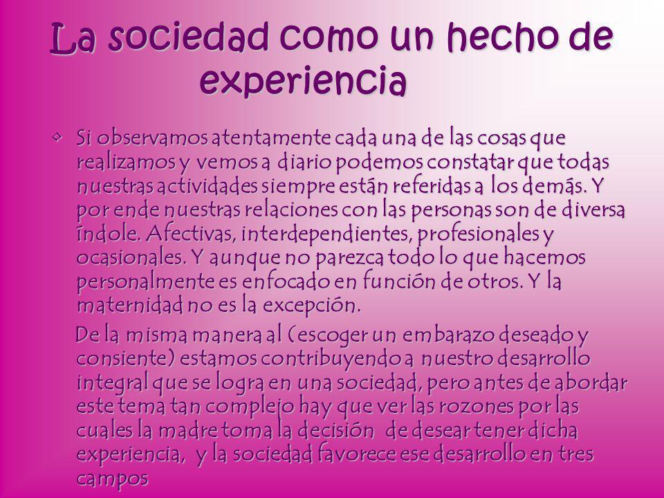 La sociedad como un hecho de experiencia
