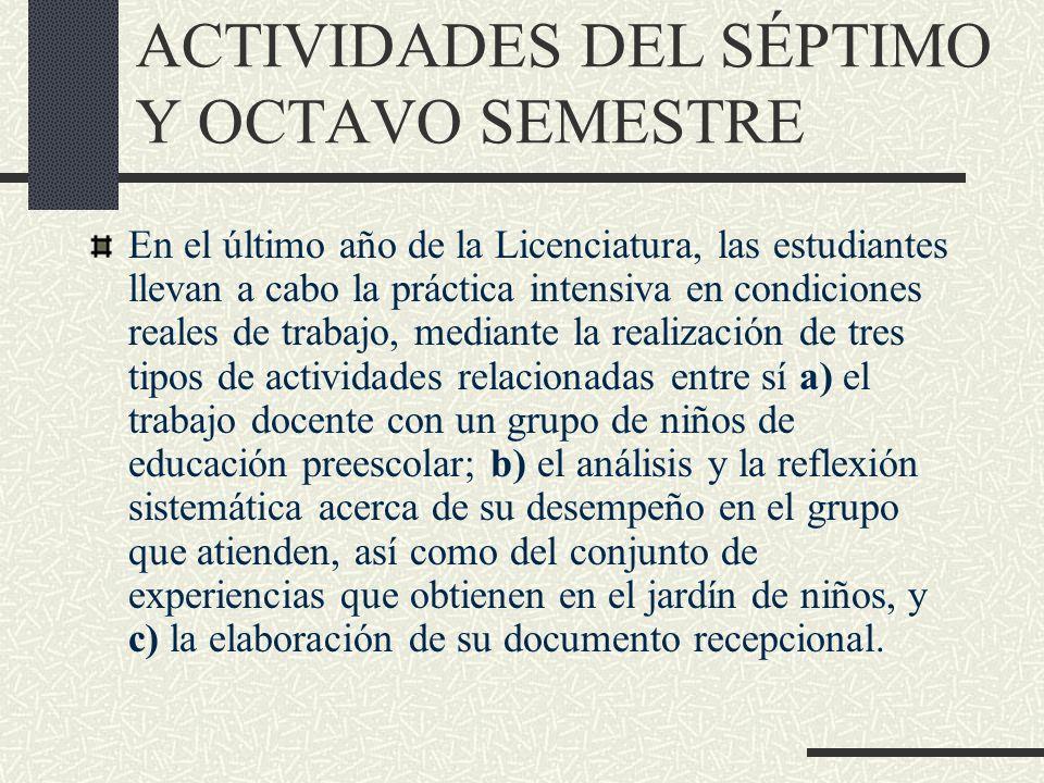 ACTIVIDADES DEL SÉPTIMO Y OCTAVO SEMESTRE