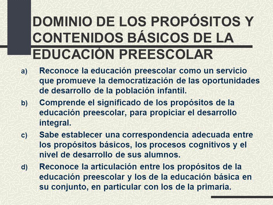 DOMINIO DE LOS PROPÓSITOS Y CONTENIDOS BÁSICOS DE LA EDUCACIÓN PREESCOLAR
