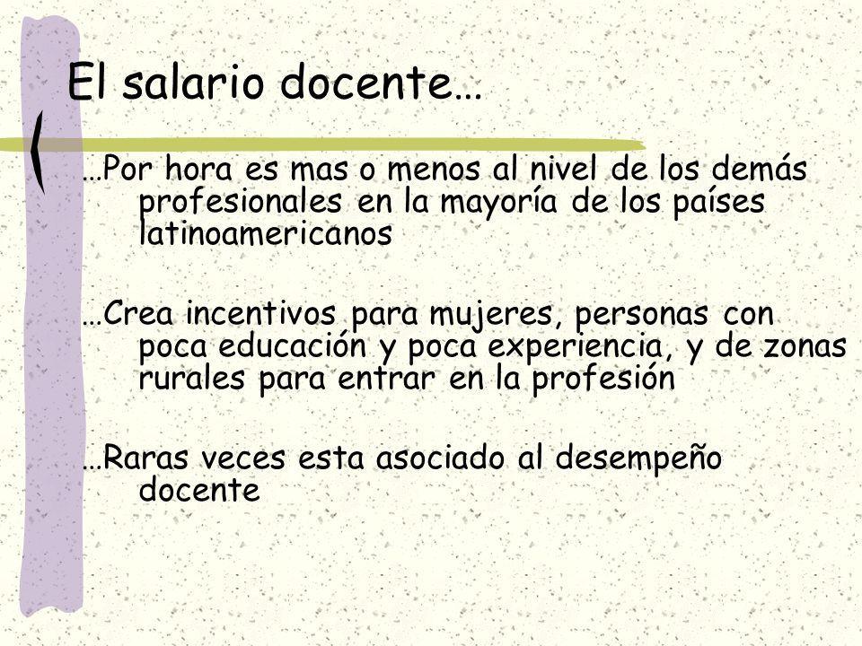 El salario docente… …Por hora es mas o menos al nivel de los demás profesionales en la mayoría de los países latinoamericanos.