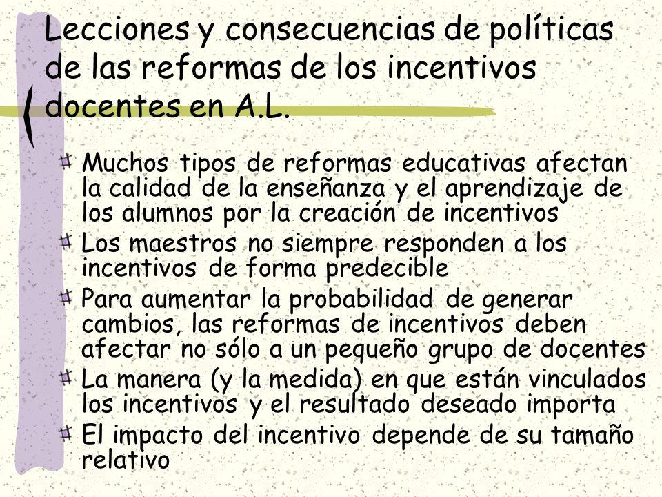 Lecciones y consecuencias de políticas de las reformas de los incentivos docentes en A.L.