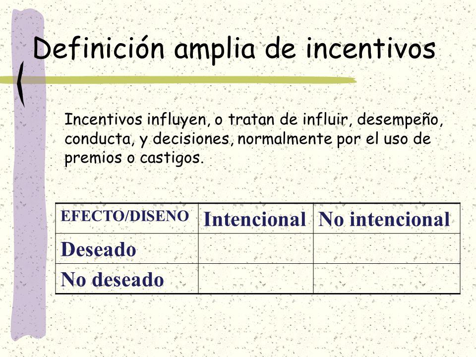 Definición amplia de incentivos