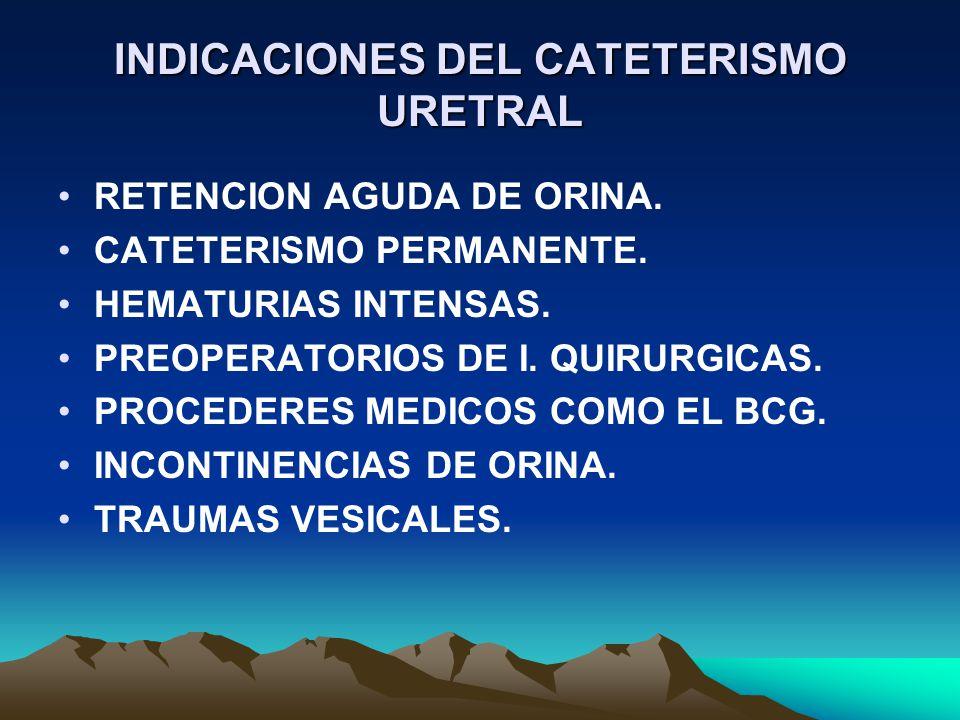 INDICACIONES DEL CATETERISMO URETRAL