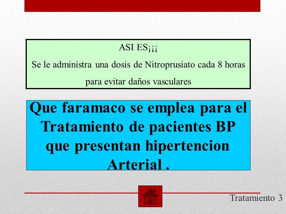 Que faramaco se emplea para el Tratamiento de pacientes BP
