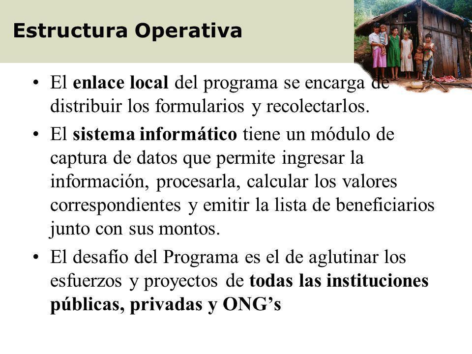 Estructura Operativa El enlace local del programa se encarga de distribuir los formularios y recolectarlos.
