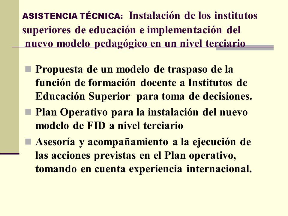 ASISTENCIA TÉCNICA: Instalación de los institutos superiores de educación e implementación del nuevo modelo pedagógico en un nivel terciario