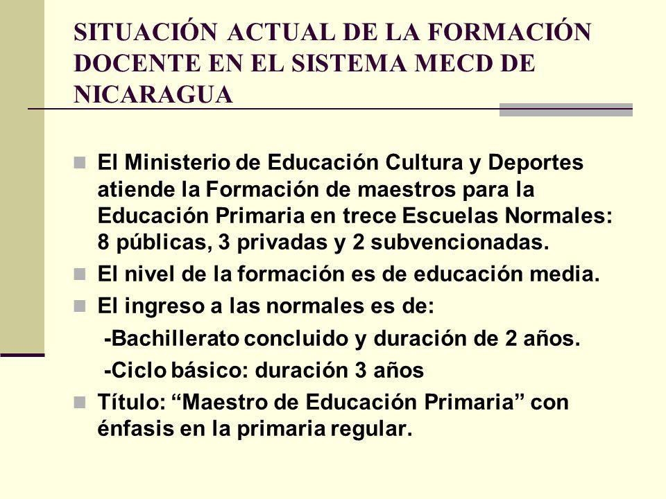 SITUACIÓN ACTUAL DE LA FORMACIÓN DOCENTE EN EL SISTEMA MECD DE NICARAGUA