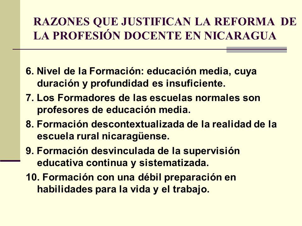 RAZONES QUE JUSTIFICAN LA REFORMA DE LA PROFESIÓN DOCENTE EN NICARAGUA