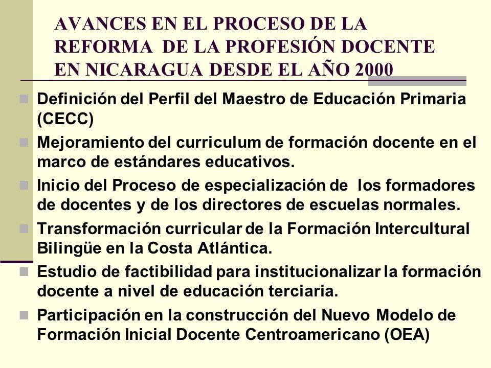 AVANCES EN EL PROCESO DE LA REFORMA DE LA PROFESIÓN DOCENTE EN NICARAGUA DESDE EL AÑO 2000