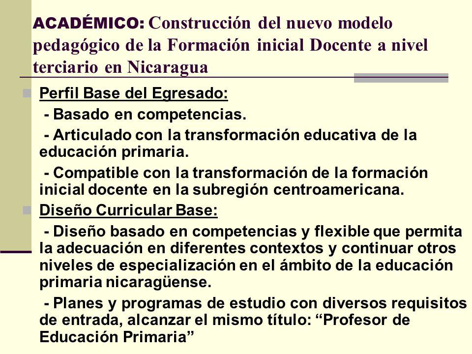 ACADÉMICO: Construcción del nuevo modelo pedagógico de la Formación inicial Docente a nivel terciario en Nicaragua