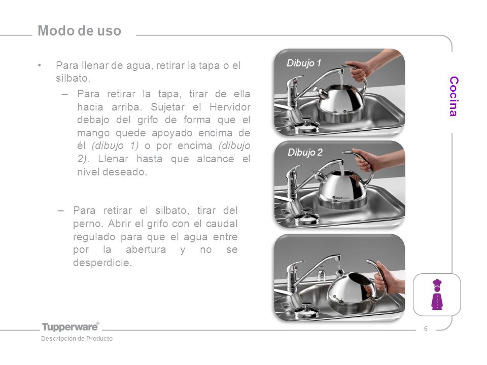 Modo de uso Cocina Para llenar de agua, retirar la tapa o el silbato.