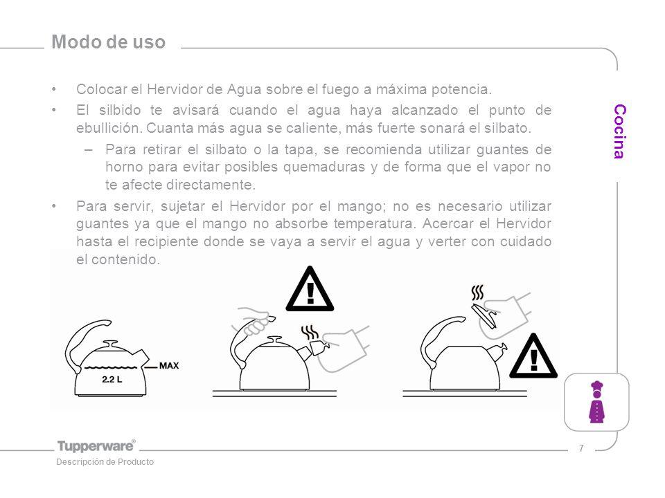 Modo de uso Colocar el Hervidor de Agua sobre el fuego a máxima potencia.