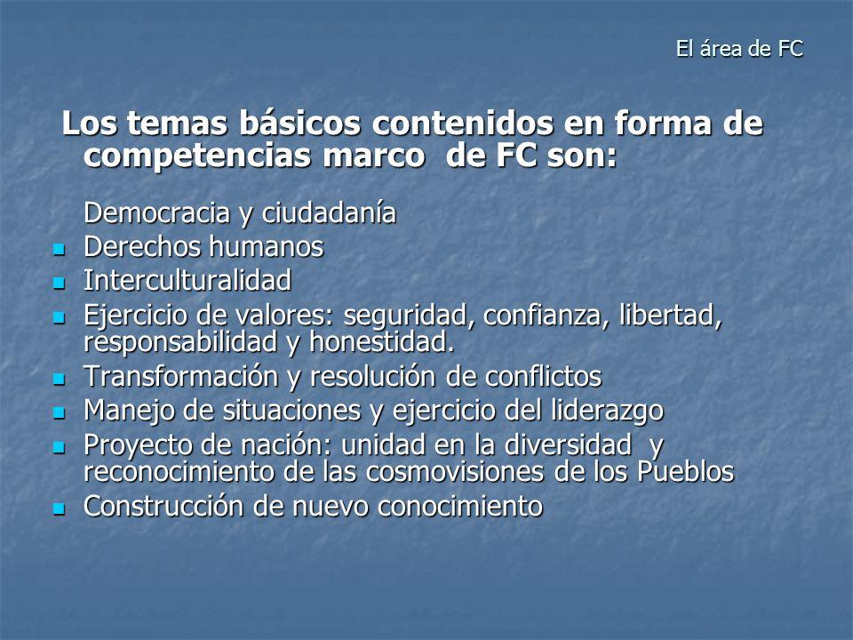 El área de FCLos temas básicos contenidos en forma de competencias marco de FC son: Democracia y ciudadanía.