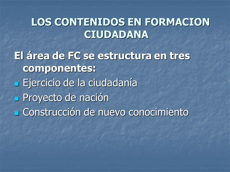 LOS CONTENIDOS EN FORMACION CIUDADANA