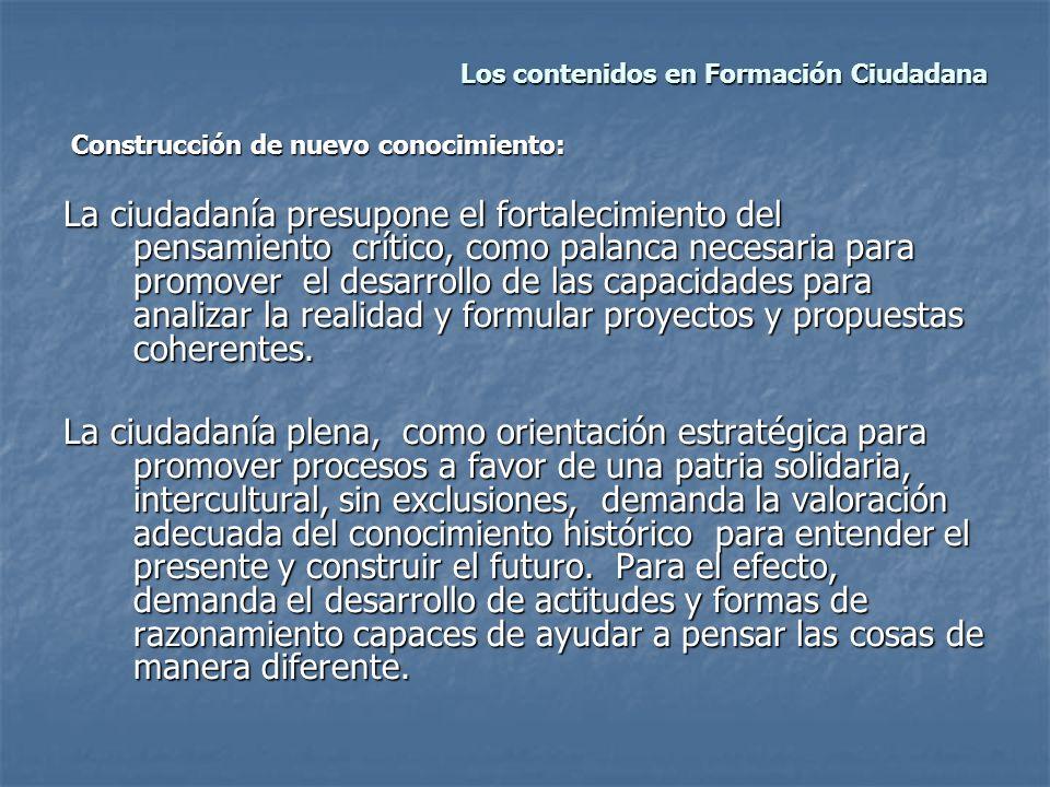 Los contenidos en Formación Ciudadana