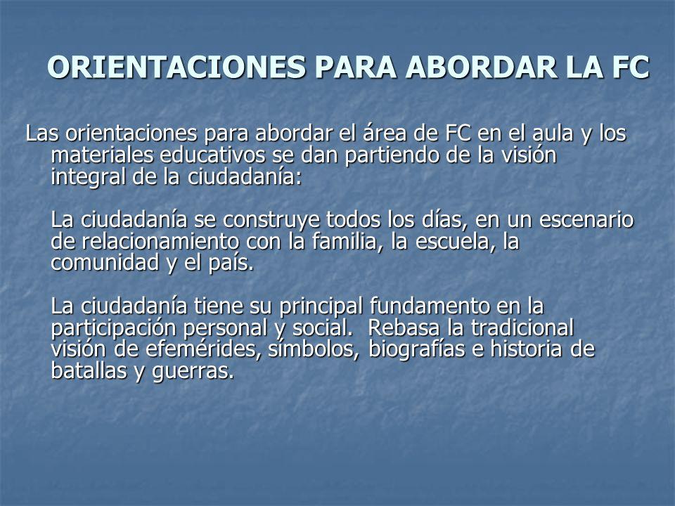 ORIENTACIONES PARA ABORDAR LA FC