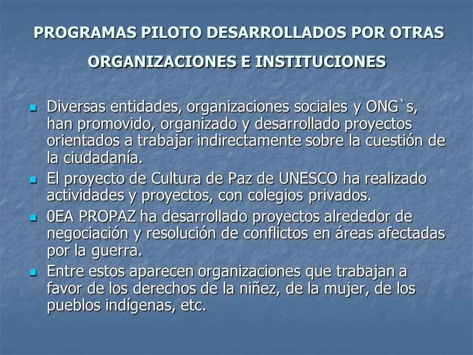 PROGRAMAS PILOTO DESARROLLADOS POR OTRAS ORGANIZACIONES E INSTITUCIONES